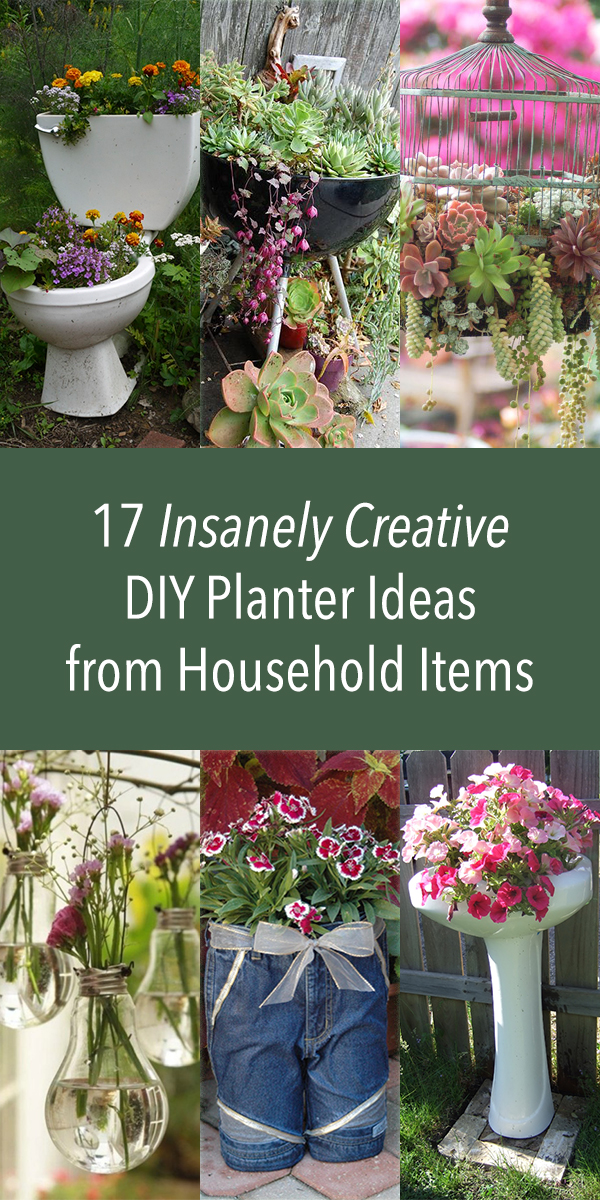 17 Insanely Creative DIY Planter Ideas from Household Items