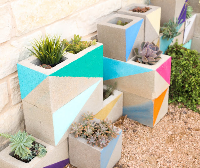 Build a colorful cinderblock succulent garden