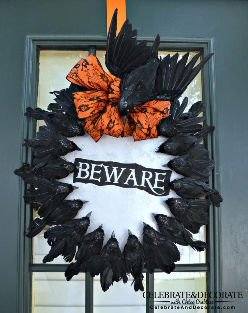 Creepy Crow Halloween Wreath