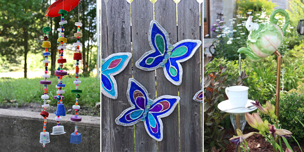 15 cheap but beautiful diy garden decor ideas for Inexpensive garden decor