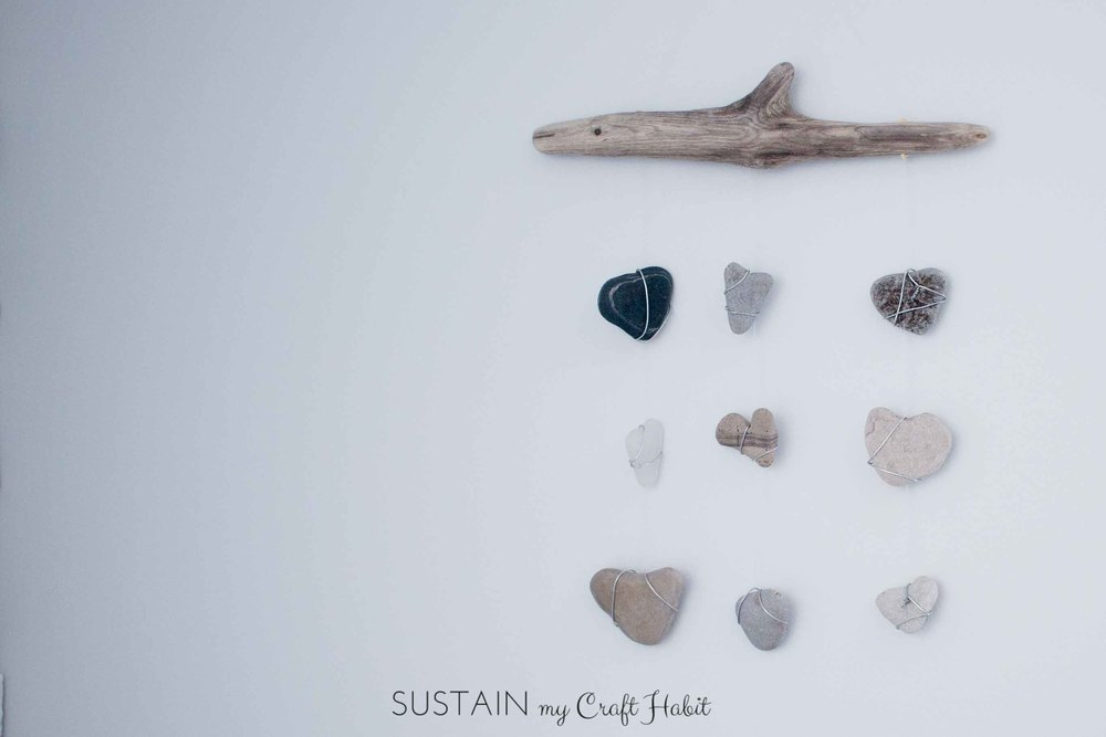 Heart Rocks and Sea Glass Mobile