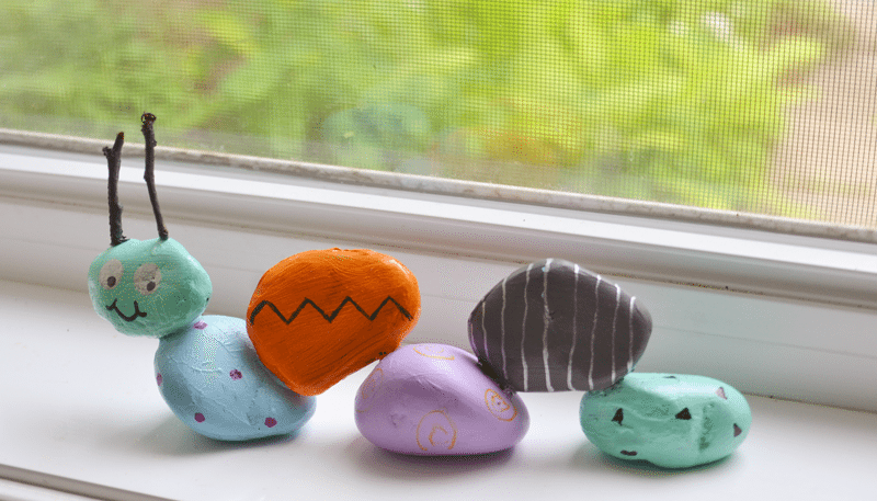 Make a garden rock caterpillar with the kiddos