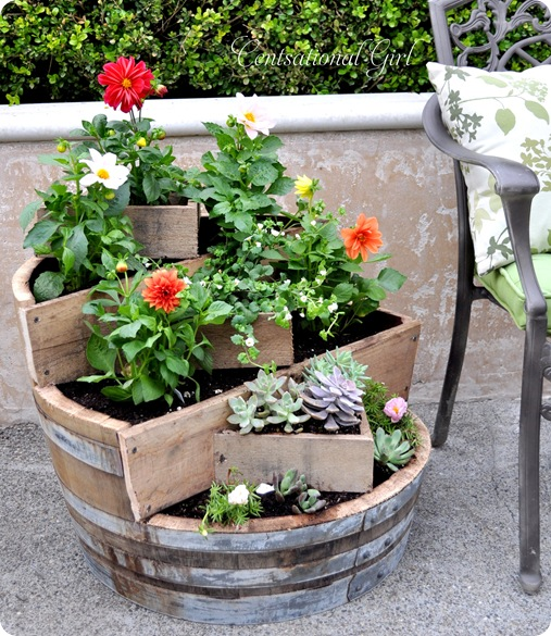Multi-Tiered Wine Barrel Planter