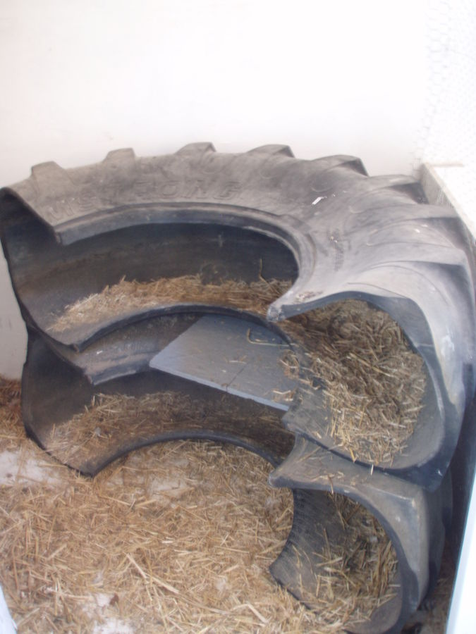 Old Tractor Tires Used as Nesting Boxes