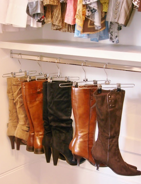 Skirt hangers are great for keeping boots up off the floor and out of the way