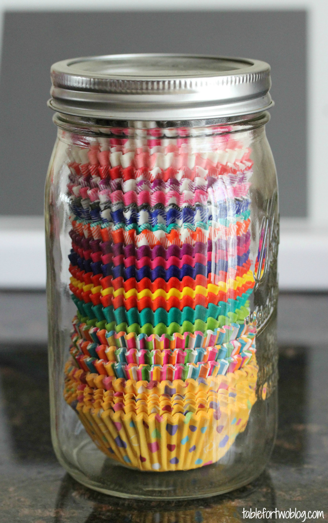 Store cupcake liners in a mason jar