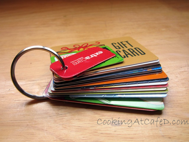 Use a keyring to keep all your store cards and gift cards together