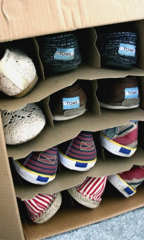 Wine boxes are great for organizing your shoes