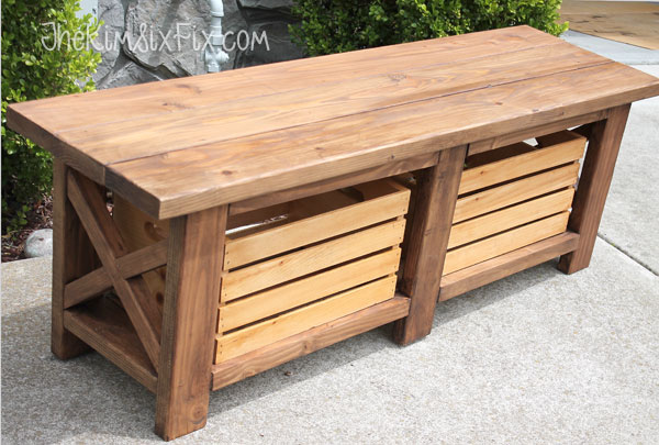 X-Leg Wooden Bench with Crate Storage