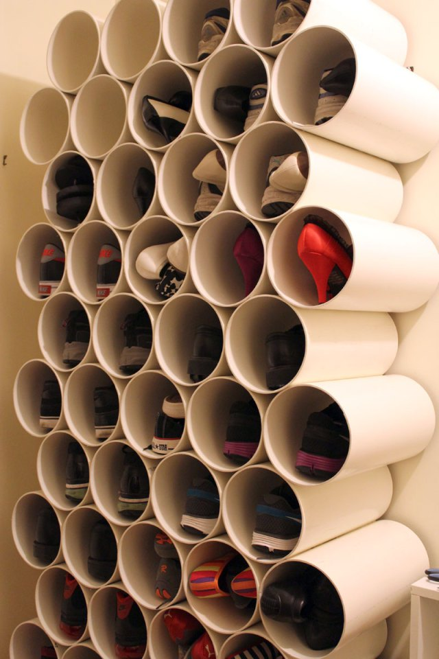 Create a stunning and very unique shoe storage compartment by simply stacking PVC pipe together
