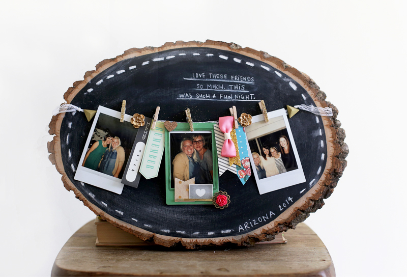 Chalkboard Wood Slice Display Board