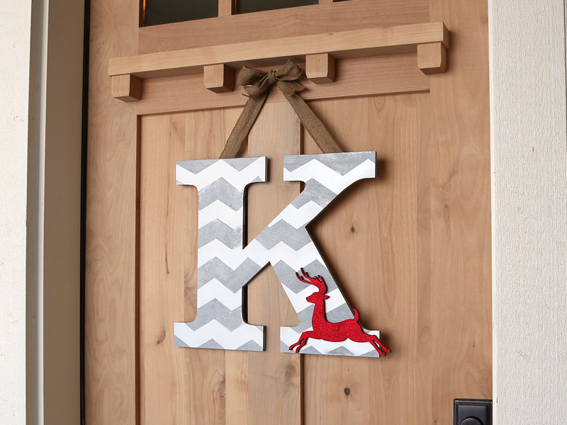 Chevron Deer Monogram Wreath