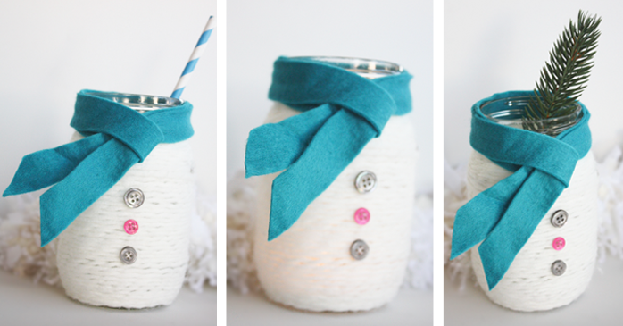 Cozy Snowman Mason Jars