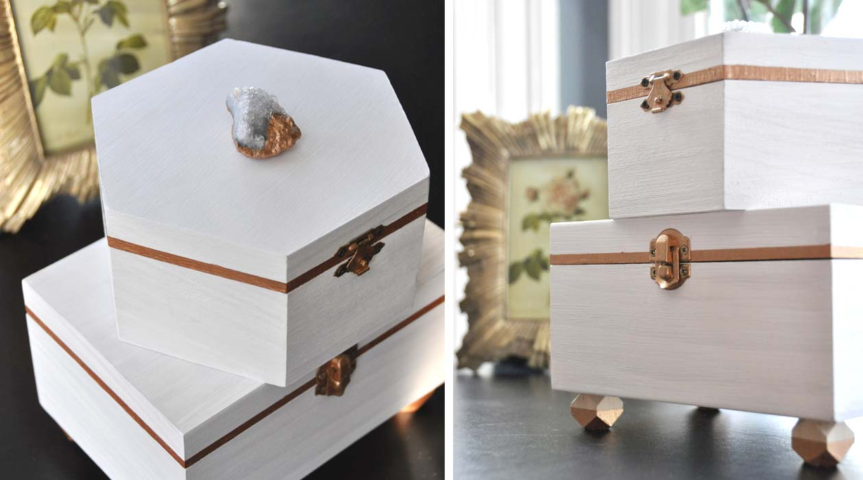 Crystal & Copper Boxes