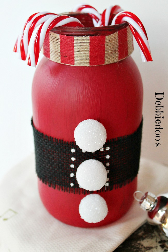 Painted Santa Jar