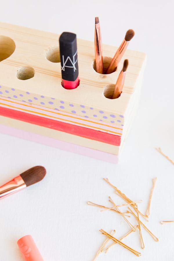 Wood Makeup Organizer