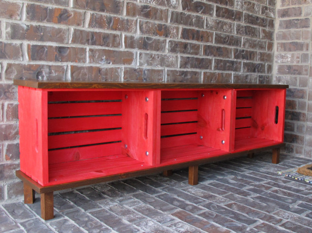 Convert three crates into an outdoor storage bench