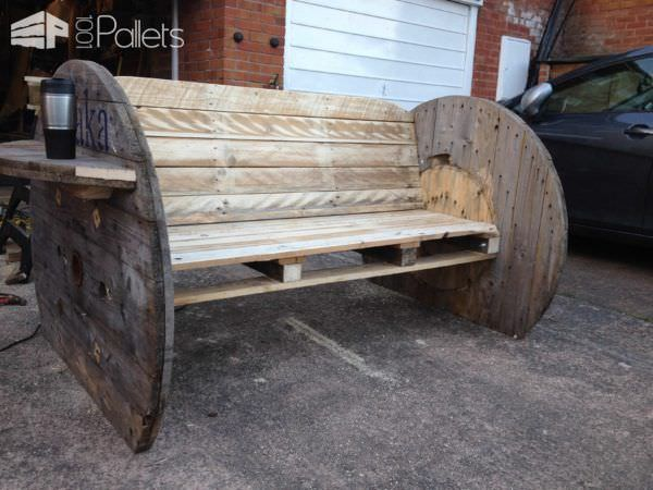 Garden Bench from Cable Spool and Pallets