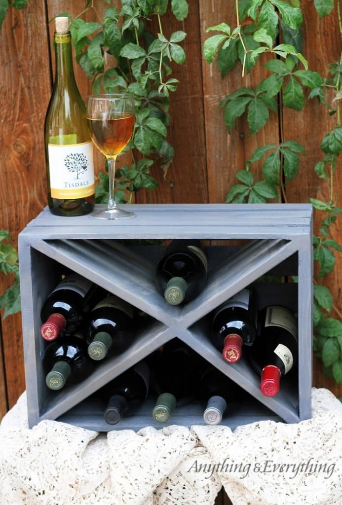 Make a wine rack out of wood crate