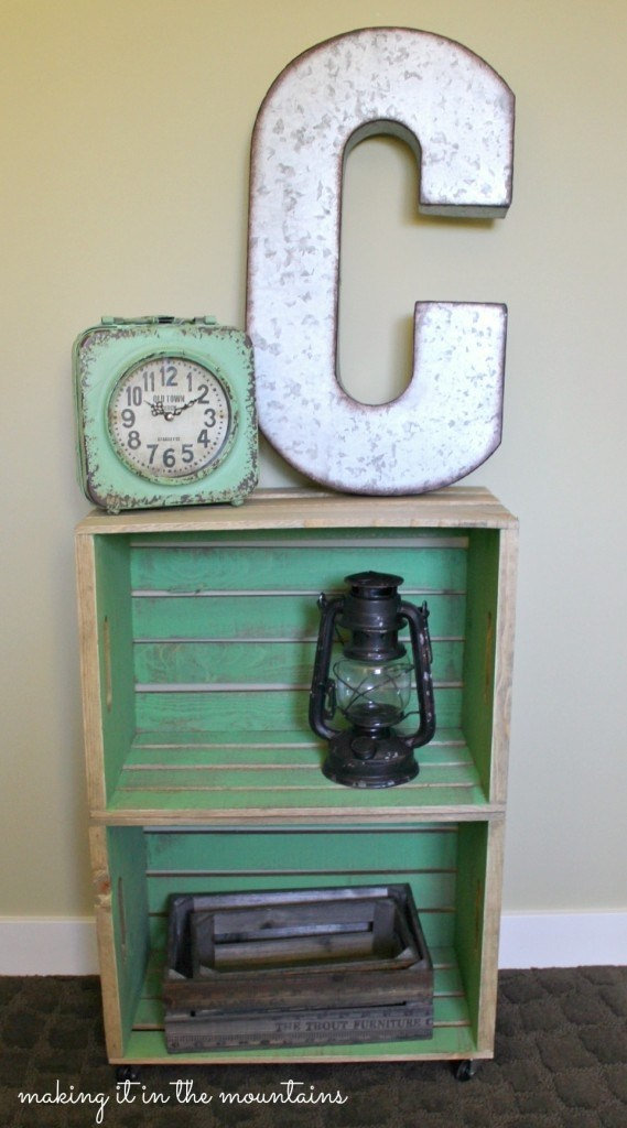 Two Wood Crates Turned Rustic Bedside Table