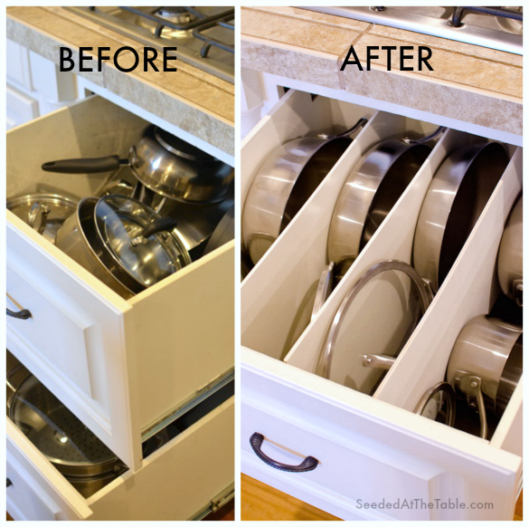 Create dividers in your drawers to keep your pots and pans neatly organized