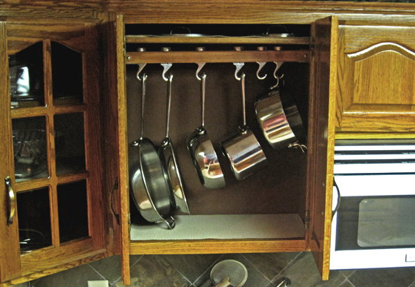 Hang your pots inside your cabinet
