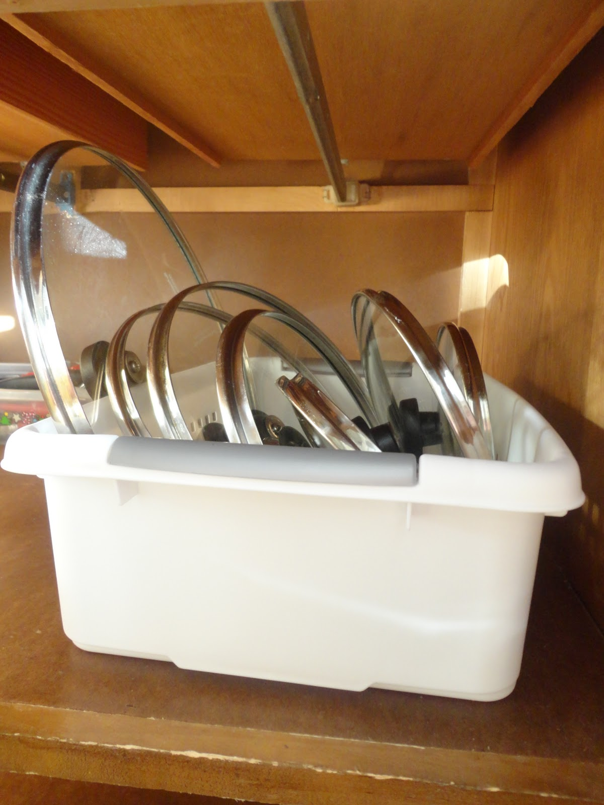 Keep lids in one location with a dish pan or other basket type container