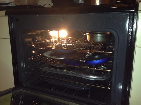 You can store pots and pans that you don't use often inside of the oven