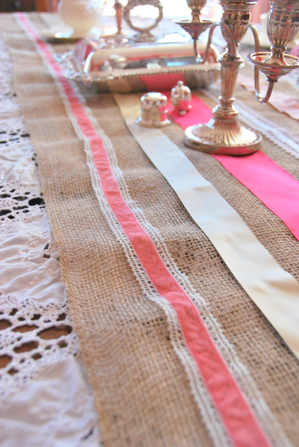 Burlap and Ribbon Table Runner
