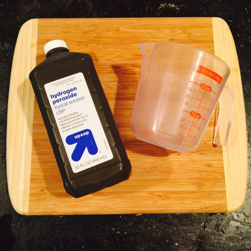 Hydrogen peroxide to clean cutting boards
