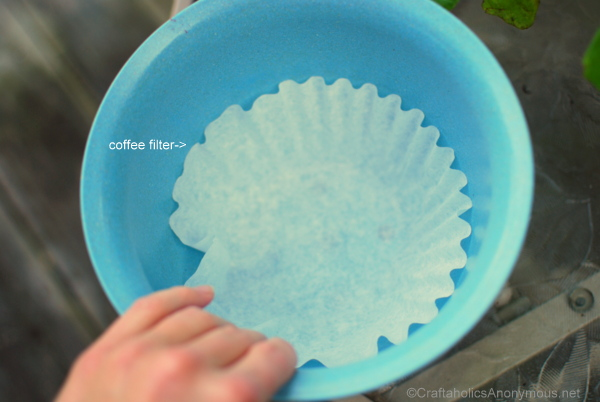 Use coffee filters to keep soil from leaking out of the bottom of pots