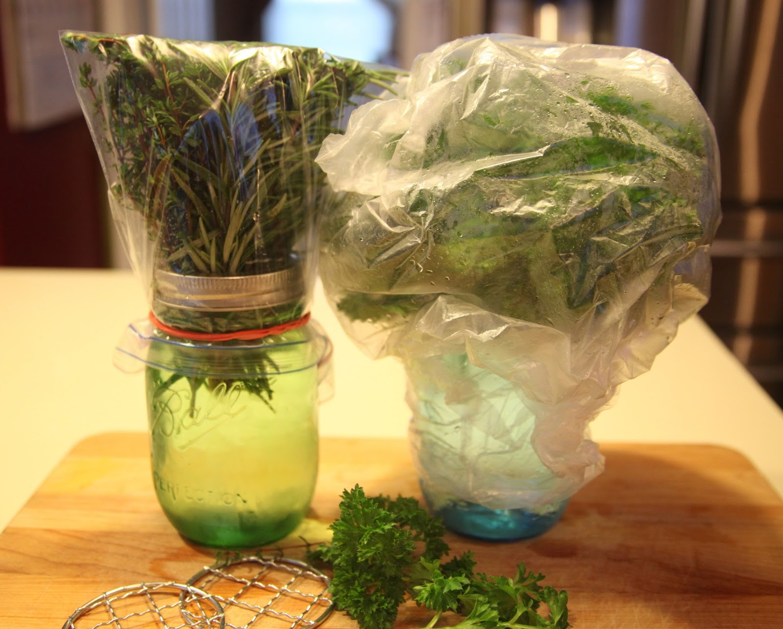 Store herbs like flowers in a vase, then cover with plastic, secure a rubberband & refrigerate