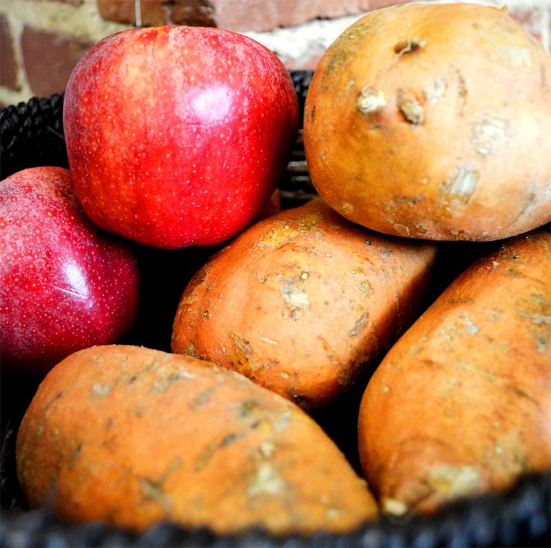 To keep potatoes from sprouting, store them next to apples