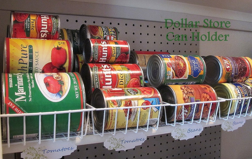 Use small wire baskets to organize all of your canned goods