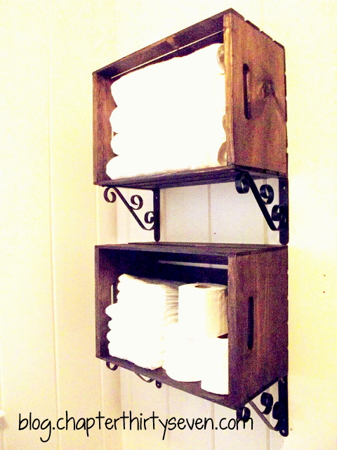 Bathroom Shelving Made From Crates and Brackets