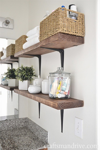 Rustic Wood & Metal Bathroom Shelves