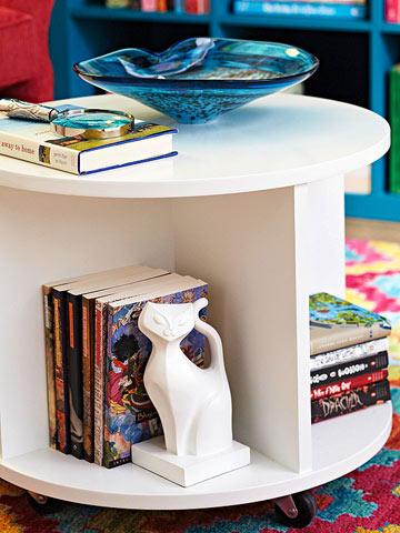 Circular Bookshelf Storage Ottoman