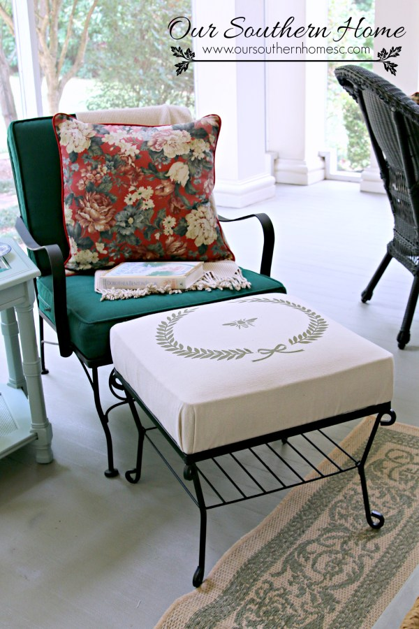 No Sew Stenciled Drop Cloth Ottoman