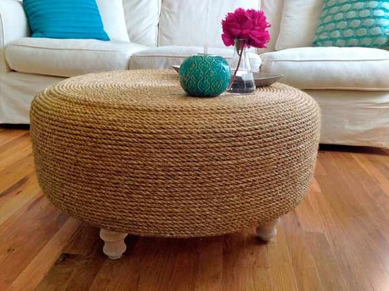 Turn an Old Tire into a Rustic Ottoman