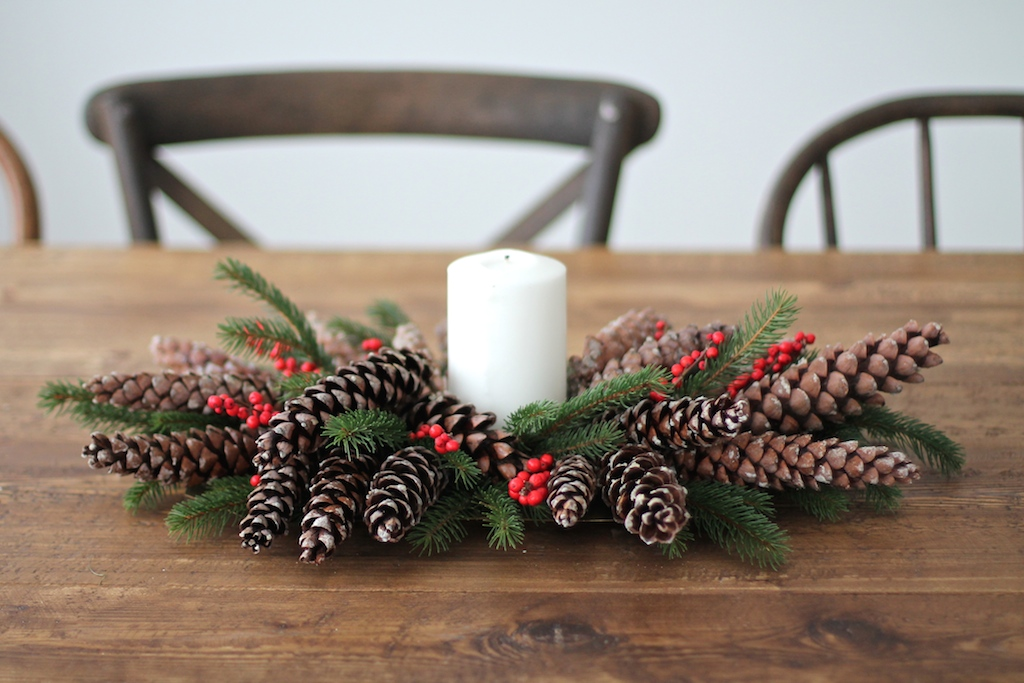Pinecones And Berries Christmas Centerpiece