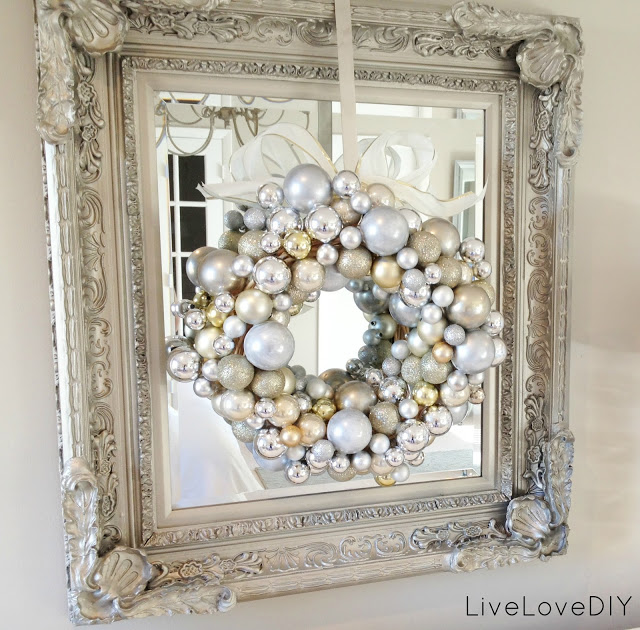 White And Silver Christmas Ornament Wreath