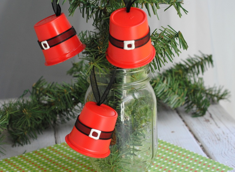 K-Cup Santa Hat Ornaments