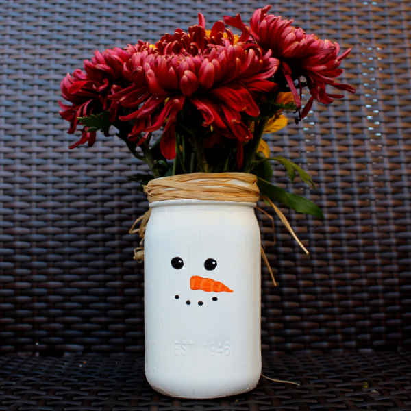 Snowman Mason Jar Vase