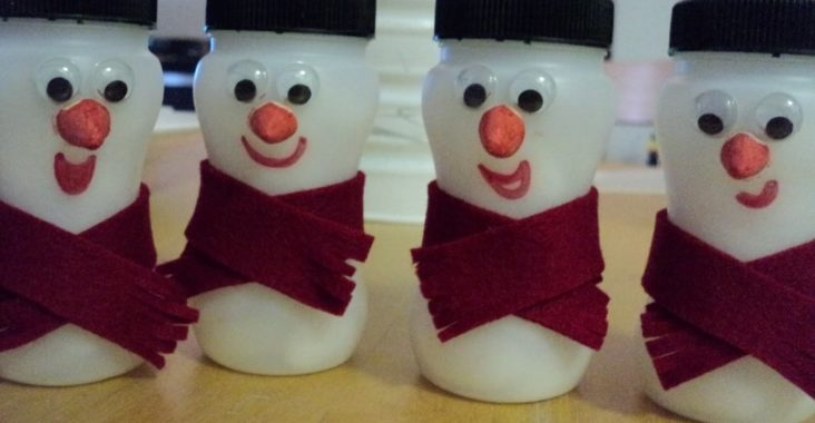 Yogurt Bottle Snowmen