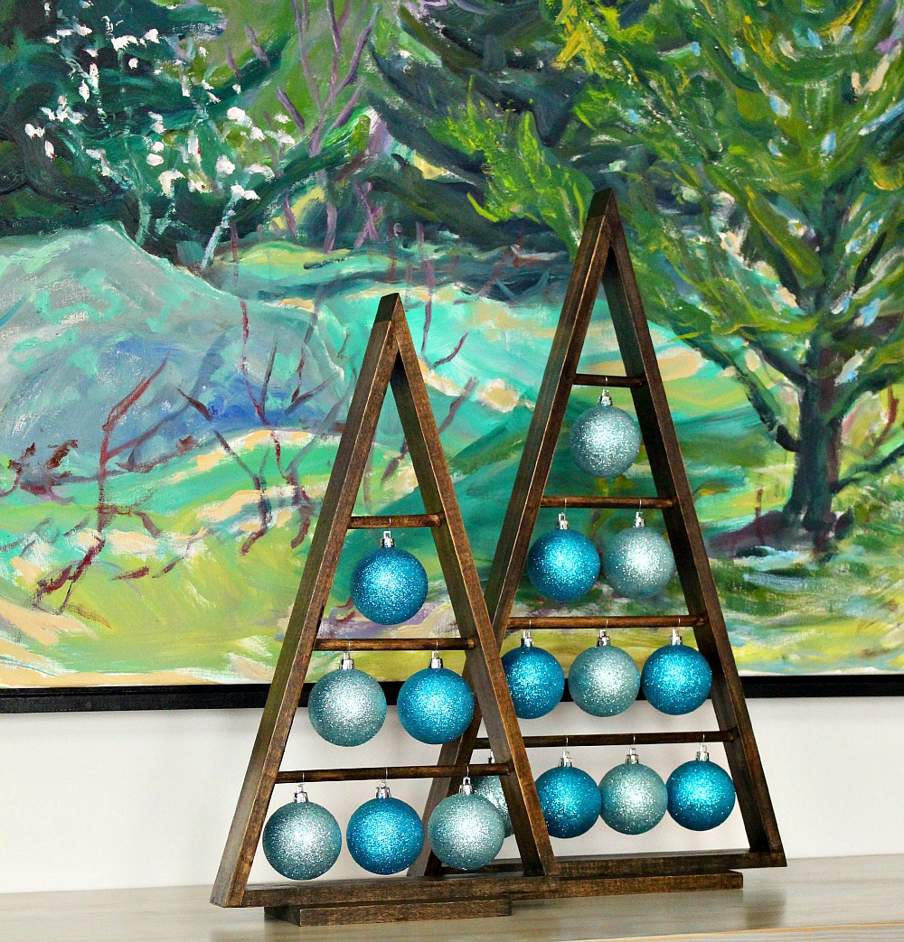 Wood A-Frame Triangle Ornament Stand
