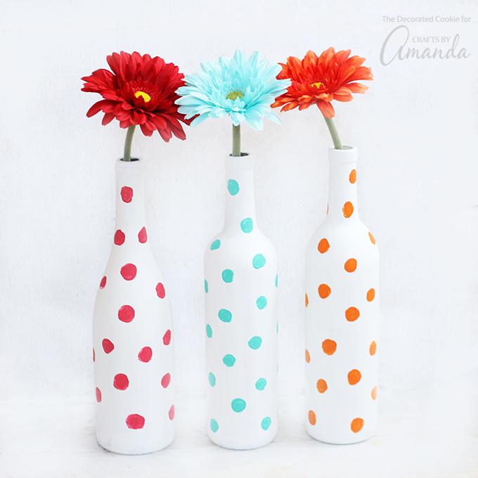 Polka Dot Wine Bottle Vases