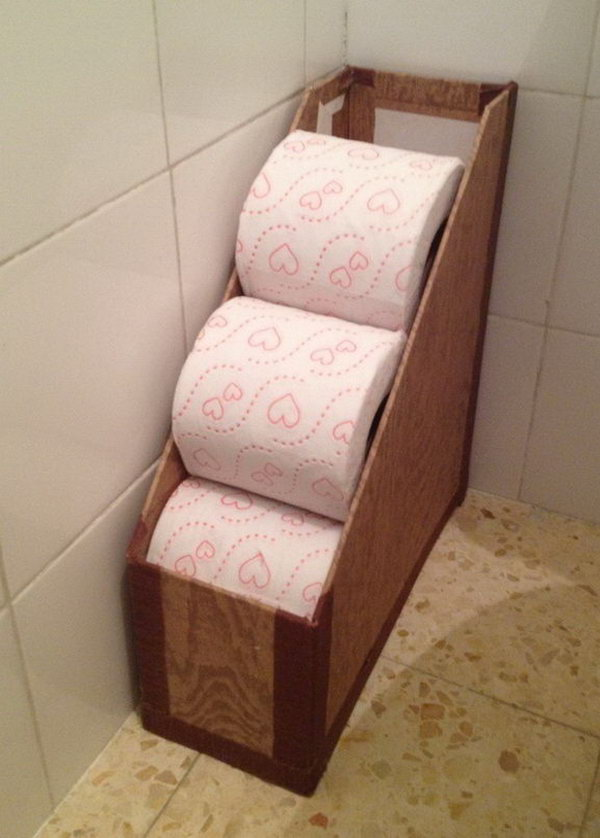 Repurpose a Magazine Rack to Hold Toilet Paper Rolls