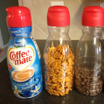 Reuse coffee creamer containers for snack storage