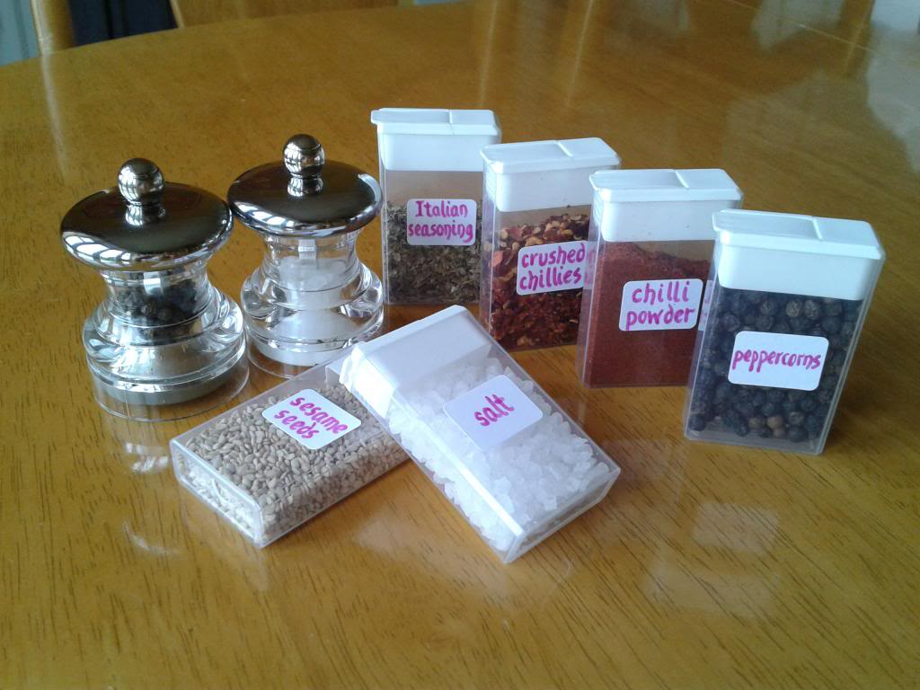 Store herbs and spices in small tic-tac containers