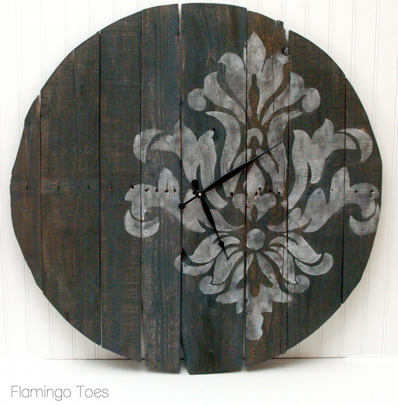 Large Stencilled Pallet Clock